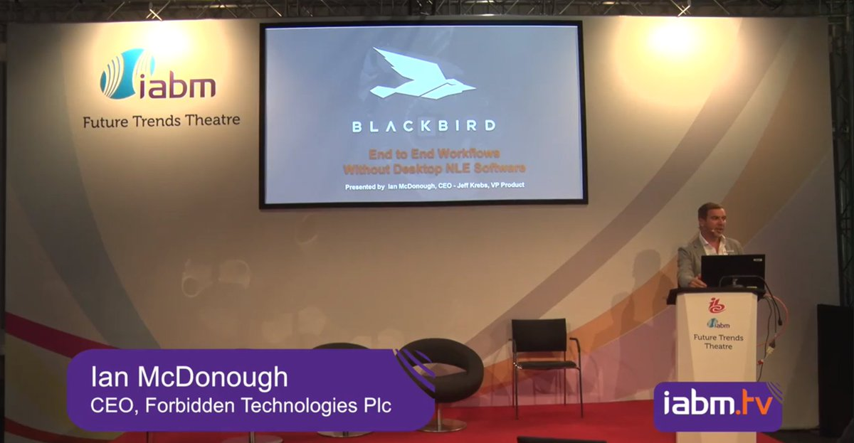 """Watch Ian McDonough and Jeff Krebs present """"End to end: Workflows without desktop NLE software"""", which includes a #Blackbird demo. Visit  https:// bcove.video/2O72jTf     #cloudvideo, @TheIABM, #IBC2018 <br>http://pic.twitter.com/AQny18DPUu"""