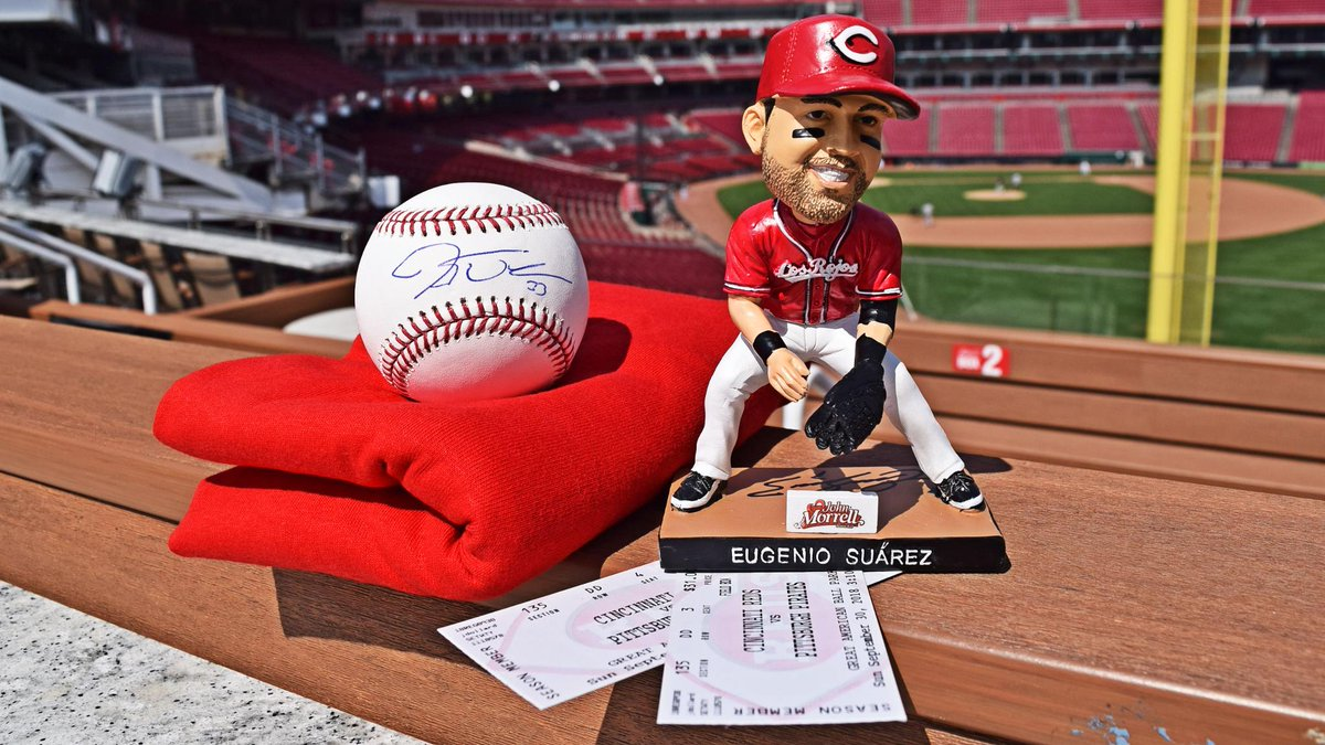 🚨 #REDS FAN APPRECIATION WEEK CONTINUES 🚨  RETWEET to enter to win an autographed Eugenio Suárez bobblehead, a baseball signed by Jesse Winker and two (2) tickets to Sunday's Fan Appreciation Day game against the Pirates! Must enter by 11 a.m. ET, Wednesday 9/26.
