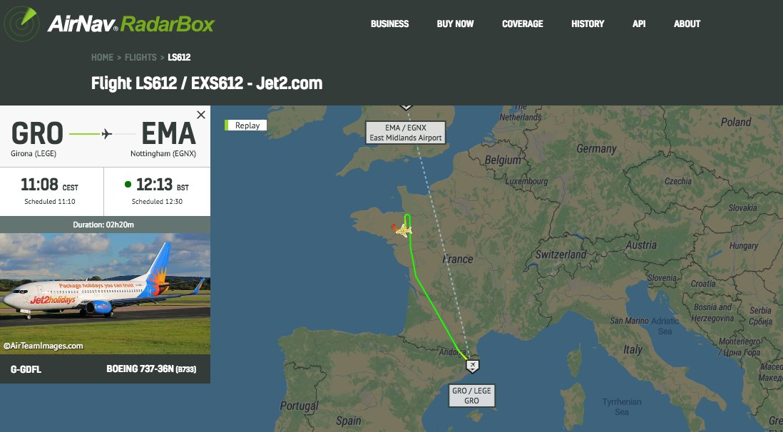 .@jet2tweets #LS612 to EMA declared an emergency and diverted to Rennes #radarbox https://t.co/RHH5i24a5f