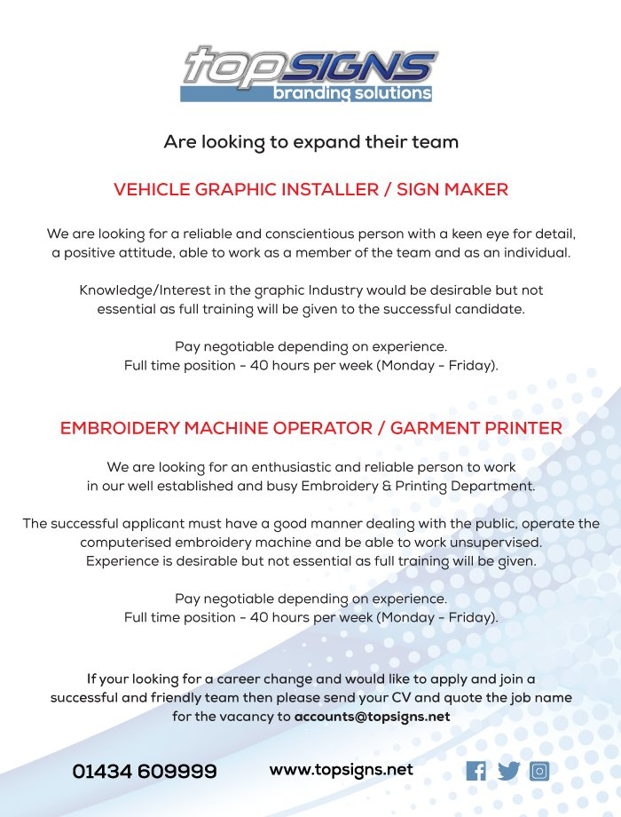 Top Signs Ltd On Twitter We Are Hiring Graphicinstaller And