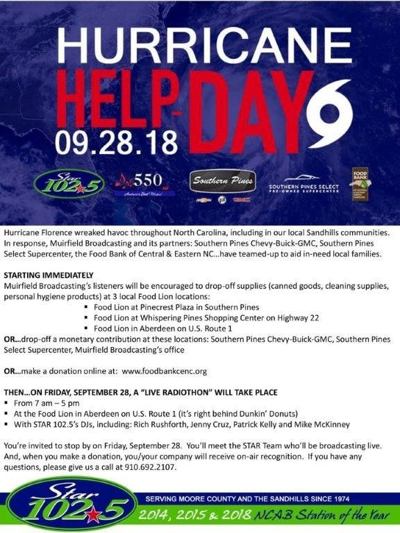 Attention Sandhills: This Friday is the @Sandhills411 Star 102.5 Hurricane Help Day. But you dont have to wait to start making a difference for those impacted by Florence! @FoodBankSHills