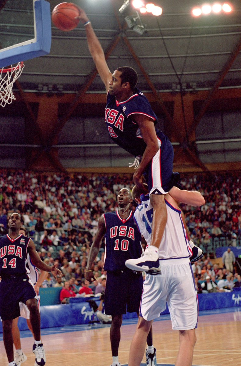18 years ago today, Vince Carter jumped OVER 7'2' Frederic Weis.  Still one of the craziest dunks ever 🐐