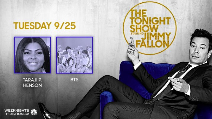 Tonight on the show: @TherealTaraji is here! Plus, talk, music & more from @BTS_twt! 💜 #FallonTonight #BTSonFallon