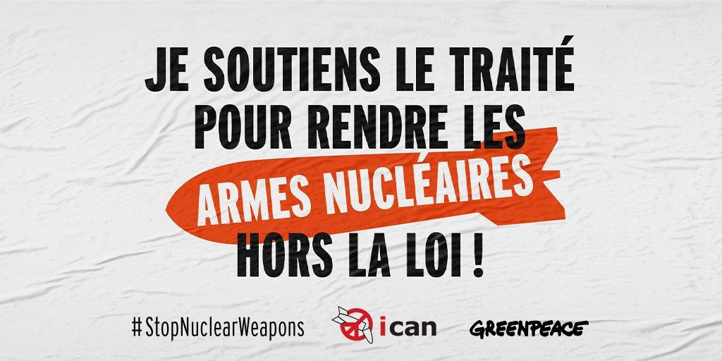 Ensemble, nous pouvons protéger la planète et vivre dans un monde plus sûr. Soutenons le Traité pour l'élimination des armes nucléaires avec l'ICAN @nuclearban #StopNuclearWeapons #nuclearban