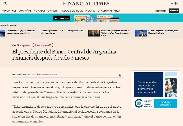 Así titula @FinancialTimes la salida de Caputo del @BancoCentral_AR de Argentina