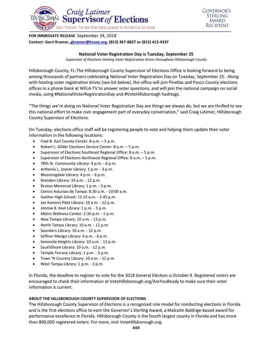 Hillsborough County Residents The Supervisor of Elections Office is hosting multiple events within the Tampa Bay Area TODAY. #ZetaPhiBeta #TampaZetas #FinerinFlorida #NuUpsilonZeta #FloridaZetas #VoterTakeover #ZetasGetEngaged #WhenWeAllVote #NationalVoterRegistrationDay.