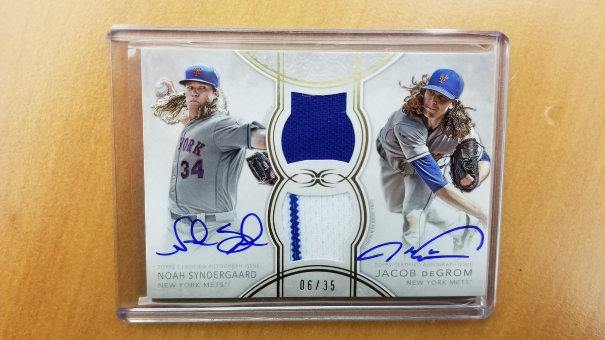 .@Mets fans, you deserve something nice. We've got you.     RT to enter to win this Amazin' duel autograph and relic of Thor and deGrom. #MLBCards