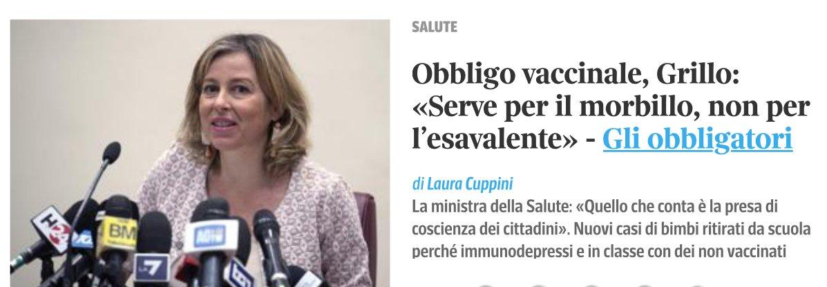 Riecco una #ministro incompetente e arrogante @GiuliaGrilloM5S che tutela prepotenti ignorando #SCIENZA e dimenticando i più #deboli!! #ITALIA allo sbando!! Non resta che sperare in un #Diluvio Universale su #PalazzoChigi! #5stelle #dimaio #unovaleuno #VAX  https:// www.corriere.it/salute/malattie_infettive/18_settembre_25/obbligo-vaccinale-grillo-serve-il-morbillo-non-l-esavalente-3fadd2e6-c0bd-11e8-8c2f-234b69fe8a3d.shtml  - Ukustom