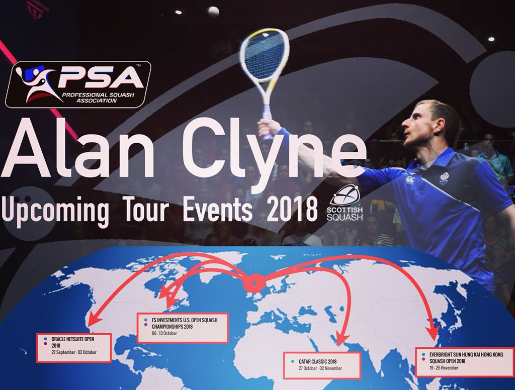 test Twitter Media - PRO SQUASH TOUR - Scottish Champion, @Clynesquash , takes on James Willstrop at the Netsuite Open in SAN Fransisco USA this Thursday. Check out his tour calendar in the graphic! 🌍 More graphics coming soon! #Squash #AlanClyne #ScotOnTour #ScottishSquash #PSAworldTour https://t.co/PZnvYcWyHN