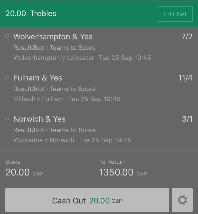 💰 £250 X 3 GIVEAWAY!  💰  If this treble lands i will give £250 to 3 people who:  1) Retweet this tweet 🔄  2) Hits ❤️  3) Is following @BigTipsterr   All steps must be completed to enter 👍