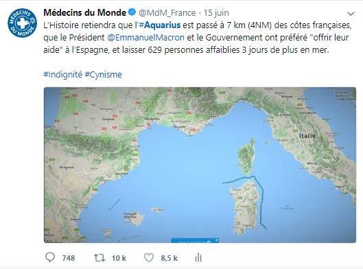 En juin dernier la France a détourné les yeux, refusant d'accueillir l'#Aquarius qui a finalement accosté en Espagne. La répétition d'une telle démission morale serait intolérable.  @EmmanuelMacron, ouvrez les ports 🇫🇷 à l'Aquarius et aux 58 naufragés !  https://t.co/xOVF2EP4fF