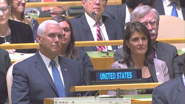 .@VP and @nikkihaley listen as Pres trumpets US withdrawal from the UN Human Rights Council, calling it 'a great embarrassment' to the UN. Despite US appeals, says Council took no action to reform itself. Says US won't return to the Council 'until real reform is taken.'