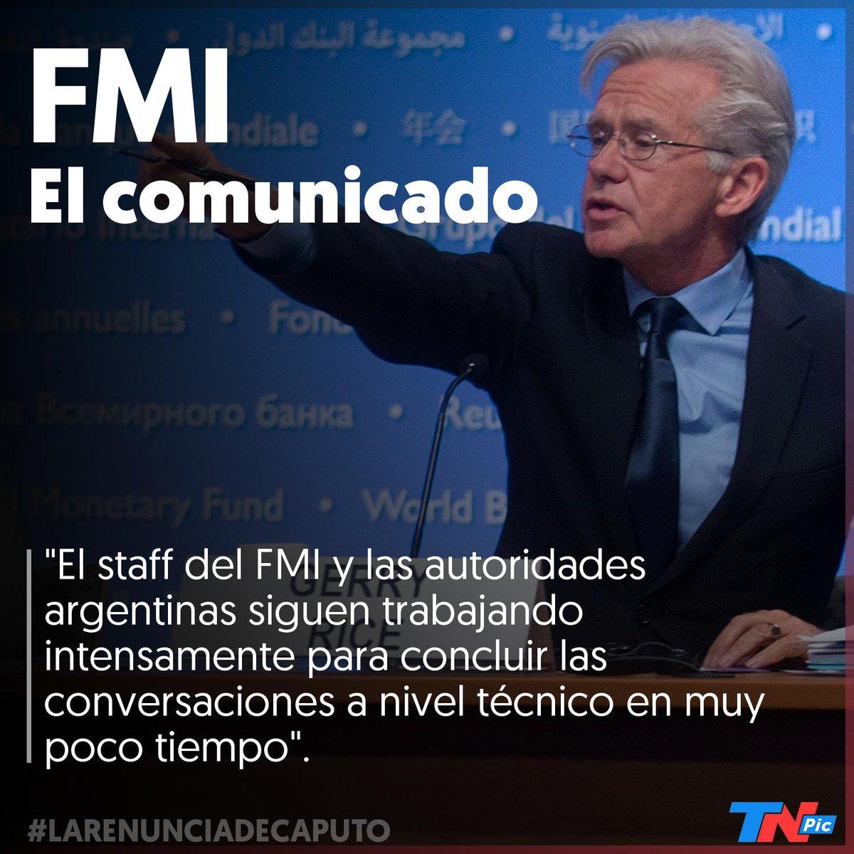 El FMI ratificó las negociaciones y apoyó al nuevo presidente del BCRA: 'Tomamos nota de los anuncios de hoy sobre el cambio en el Banco Central de Argentina. Esperamos continuar nuestra estrecha y constructiva relación con el BCRA bajo el liderazgo de Guido Sandleris'