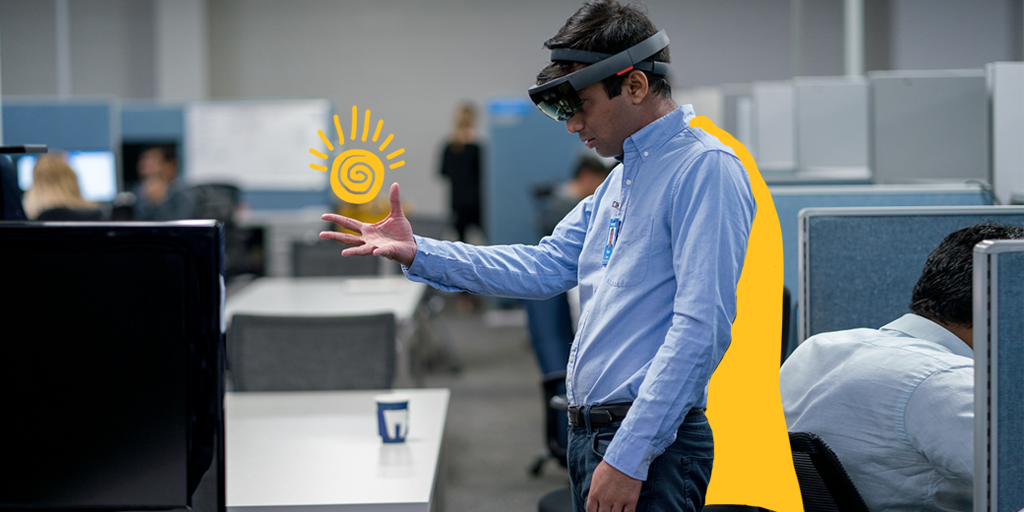 """Cloud & coding. 📊 // 11:30am, augmented reality project demo with the .  H@HoloLensans: """"The HoloLens is state-of-the-art. We're using it to map data that help the business make optimal decisions.' #TeamWalmart"""