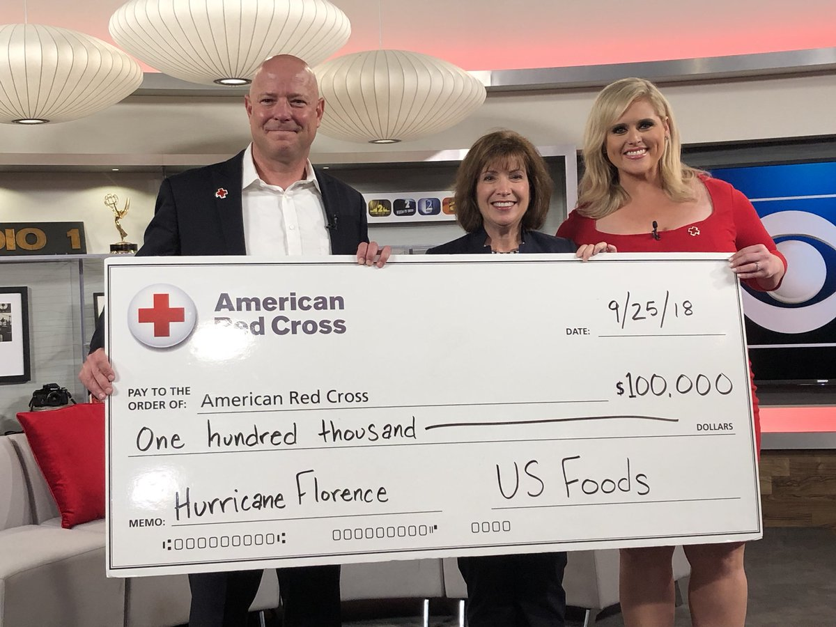 Thank you, @USFoods, for the generous gift of $100,000 to the #RedCross to support those impacted by #HurricaneFlorence. #CBSChicagoCares #theneedisnow @ChicagoRedCross