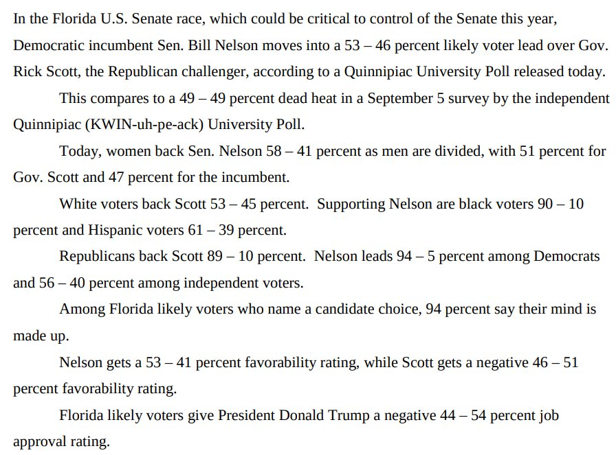 Well, here's a surprise.  Bill Nelson (D) has taken the lead over Rich Scott (R) in the Florida Senate race, 53-46 among likely voters, per new Quinnipiac poll: