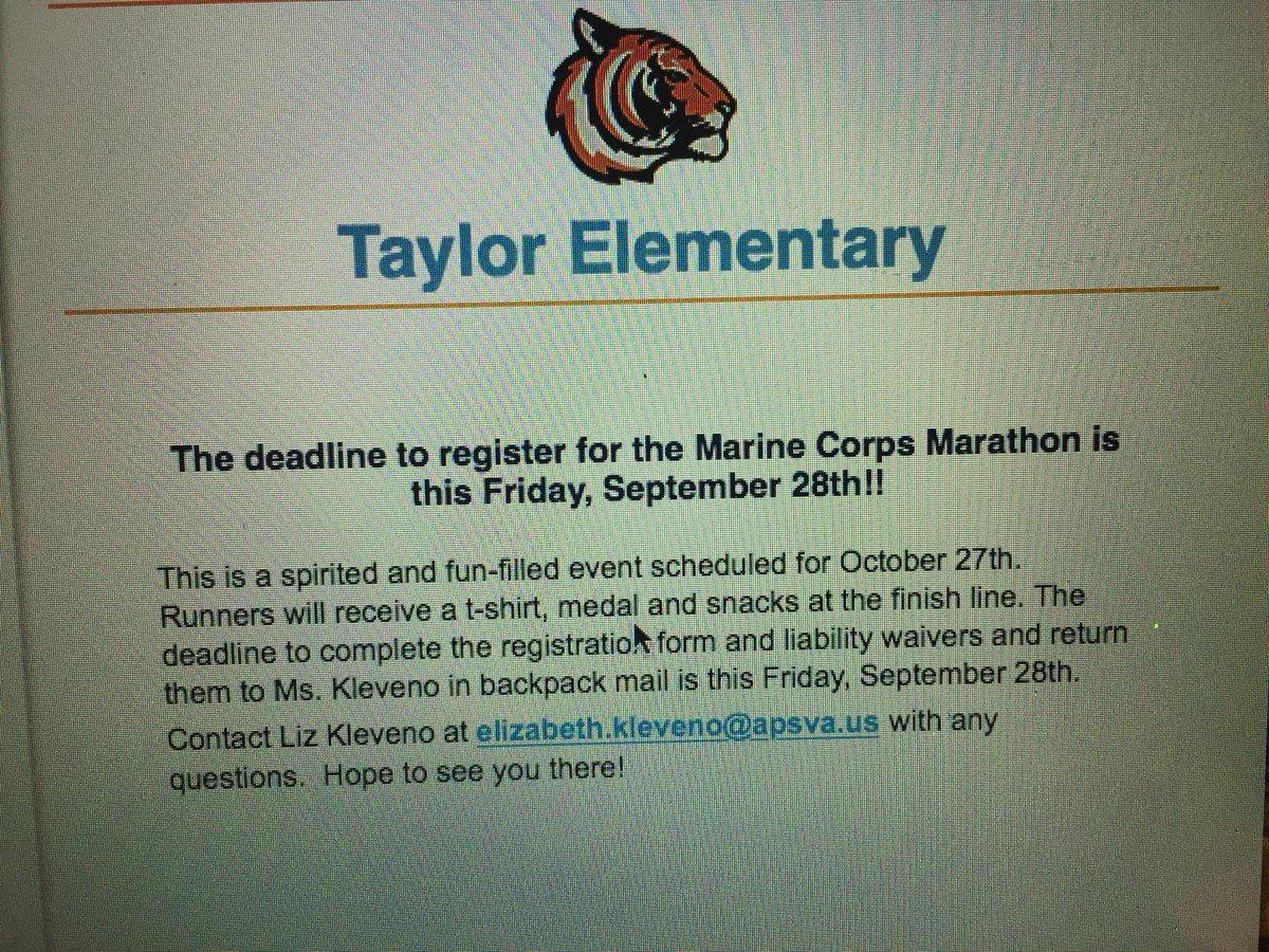 Register 4 the Marine Corps Kids' Marathon by Friday, Sept. 28 <a target='_blank' href='http://twitter.com/APSTaylor'>@APSTaylor</a> <a target='_blank' href='http://twitter.com/USMC'>@USMC</a> <a target='_blank' href='http://twitter.com/kidsmarathon'>@kidsmarathon</a> <a target='_blank' href='http://twitter.com/APSVirginia'>@APSVirginia</a> <a target='_blank' href='https://t.co/de3mApJ8eY'>https://t.co/de3mApJ8eY</a>