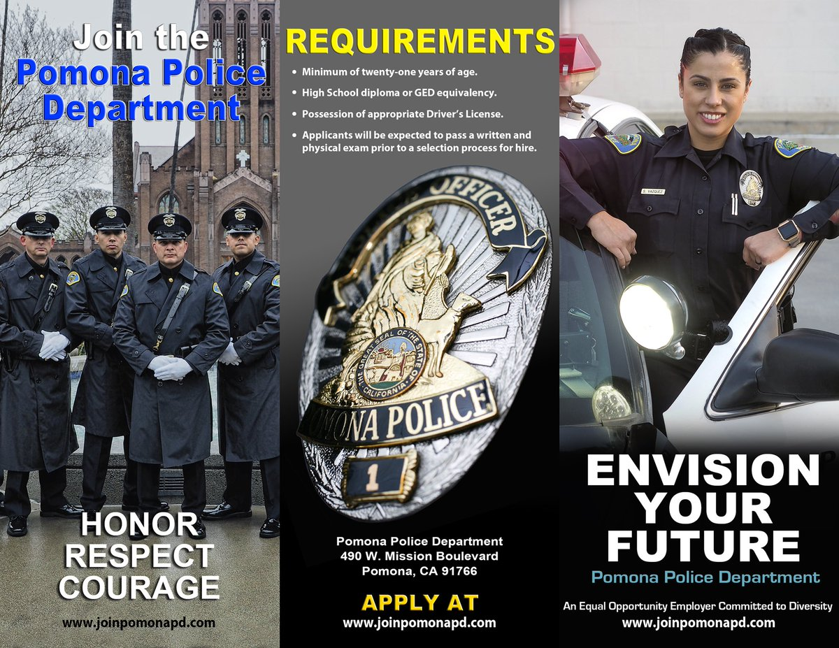 Looking for a rewarding career? #PomonaPD is hiring! Lateral Police Officer and Police Officer Recruit. More info. and to apply visit http://joinpomonapd.com.  The deadline to apply for Police Officer Recruit is 10/18. #JoinPomonaPD