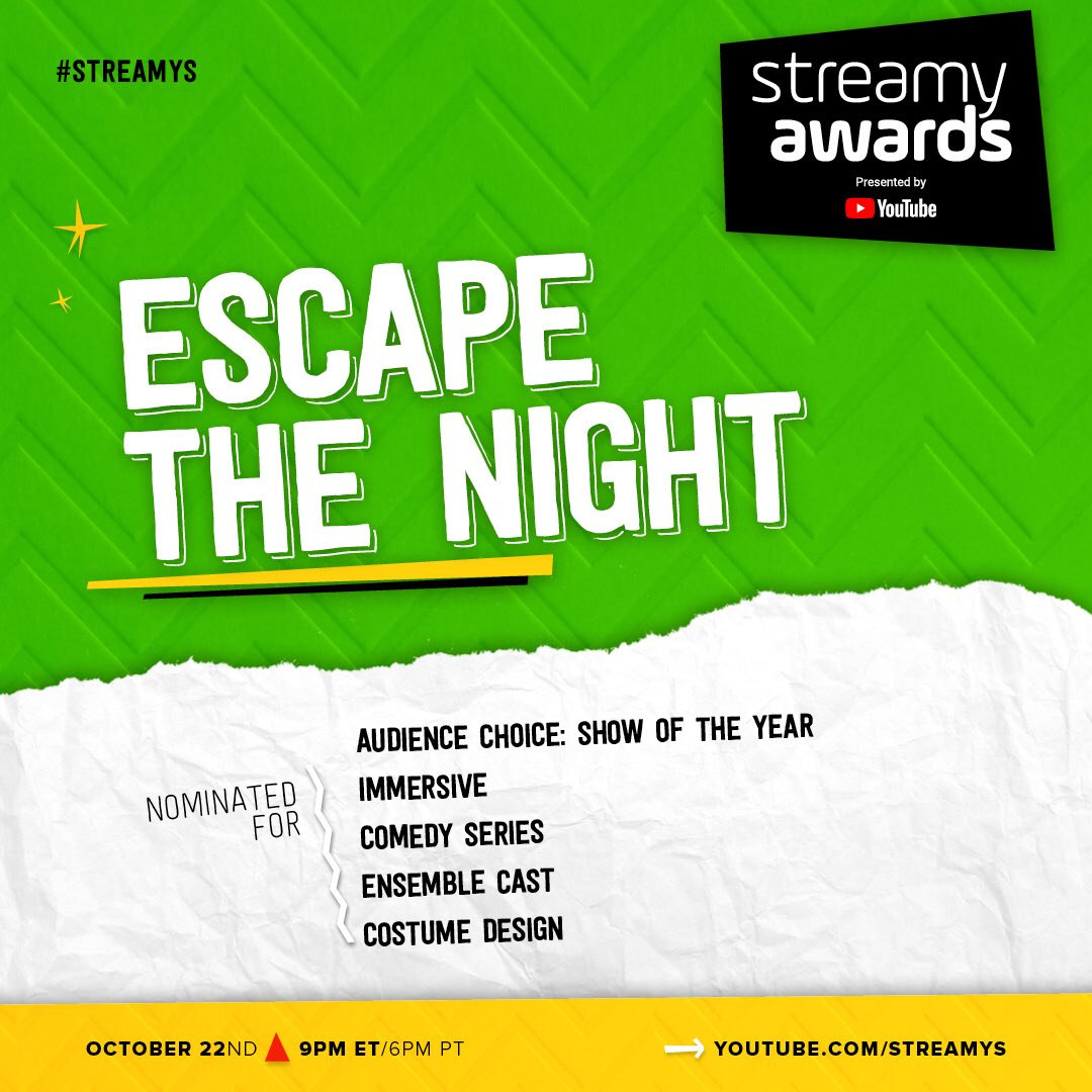 Blown away by all the love for #EscapeTheNight! 🎡🎟🎠 We are nominated for ✨FIVE✨ @streamys this year, let's rock this! ❤️ -Comedy Series -Ensemble Cast -Costume Design -Immersive -Show of the Year (Audience Choice)
