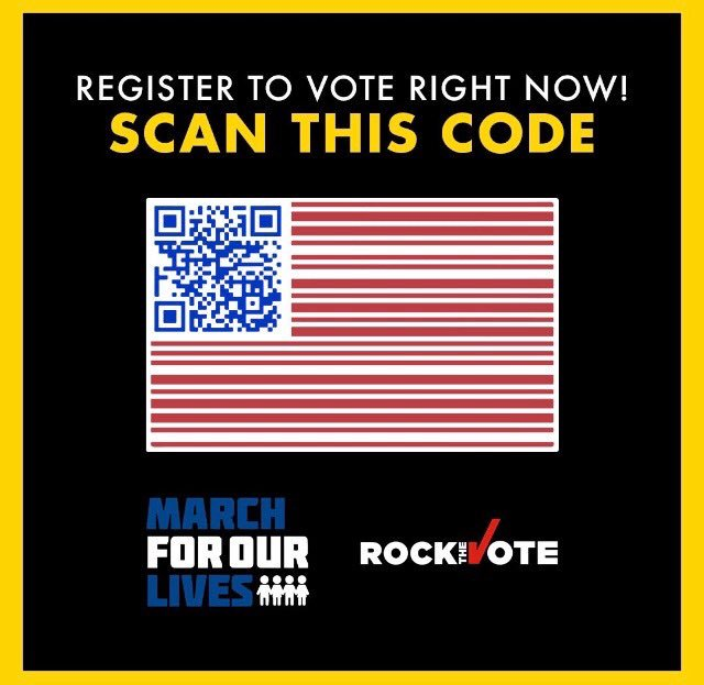 It's #NationalVoterRegistrationDay! Take 2 mins to #RegisterToVote (or to confirm you're registered). Just scan this QR Code to your photo app! Or visit https://t.co/OIjVgHKxy6 And take part in the November 6th Tsunami!