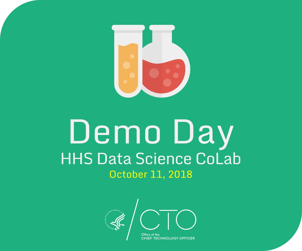 Are you interested in applying #DataScience to your work @HHSGov ? Join fellow data scientists at the HHS Data Science CoLab Demo Day on October 11. The day will highlight projects on #MachineLearning, text mining and #DataVisualization. Learn more: https://t.co/beC7zO4y25