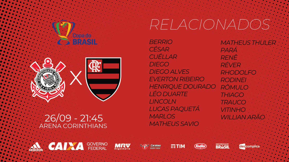 Lista de relacionados para a semifinal da Copa do Brasil. #CORxFLA
