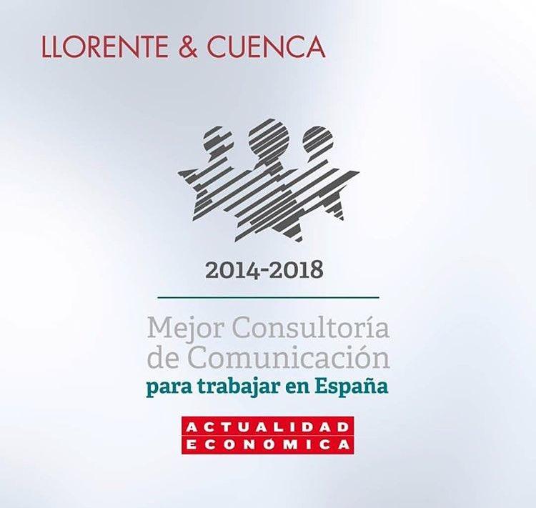 Por quinto año consecutivo @LlorenteyCuenca es una de las mejores empresas para trabajar en España #tatento #orgullodecompañia https://t.co/11FewgHqRA
