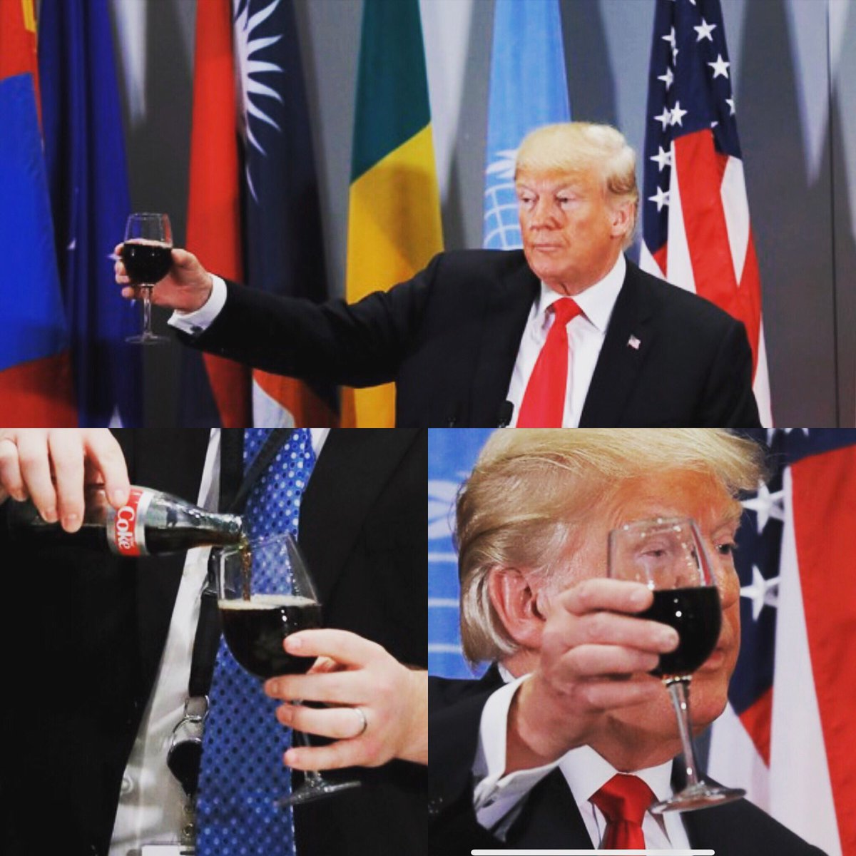 U.S. President Donald Trump raises his glass of Diet Coke in a toast during a luncheon for world leaders during the 73rd session of the United Nations General Assembly in New York, U.S., September 25, 2018.