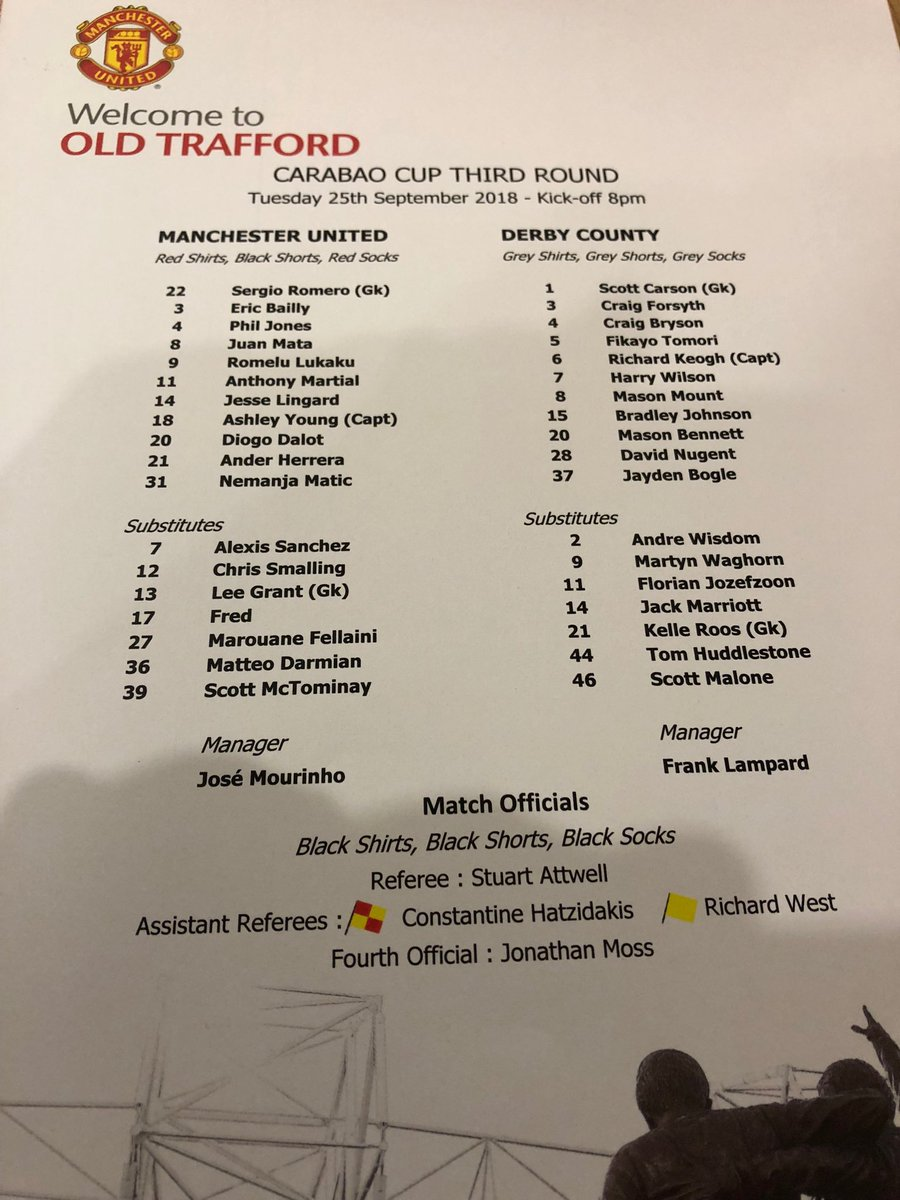 No Pogba in #mufc squad. Young captain. Mount starts #dcfc