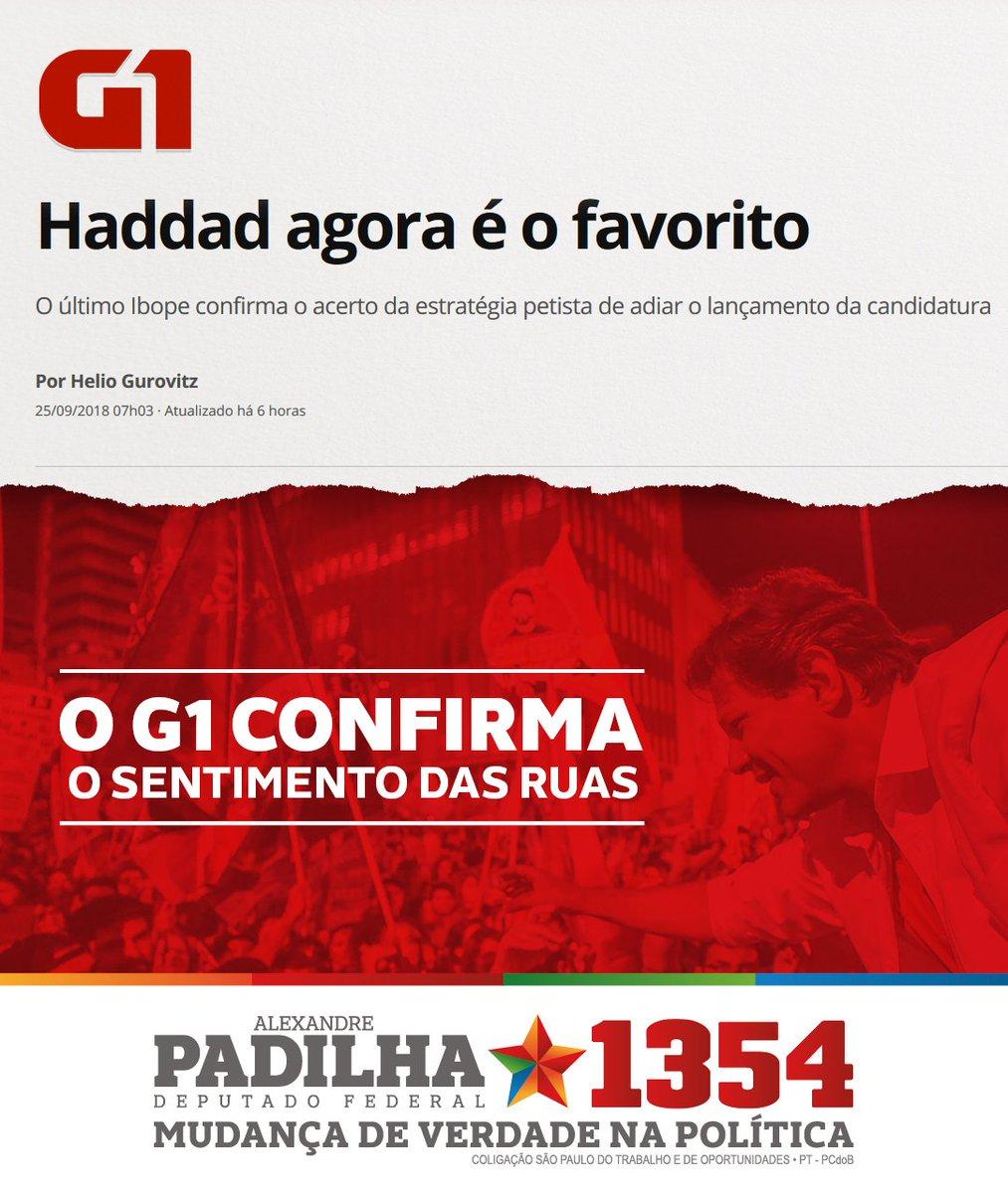 Agora, é Haddad! É o favorito do Brasil! Certamente, seremos felizes de novo! #Padilha1354 #MudançaDeVerdade #HaddadÉLula