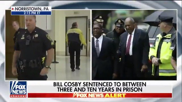 Bill Cosby has been sentenced: 3 - 10 in state prison. @RickLeventhal reports. https://t.co/hIuyQCFgbQ https://t.co/k9K8LMHBu2