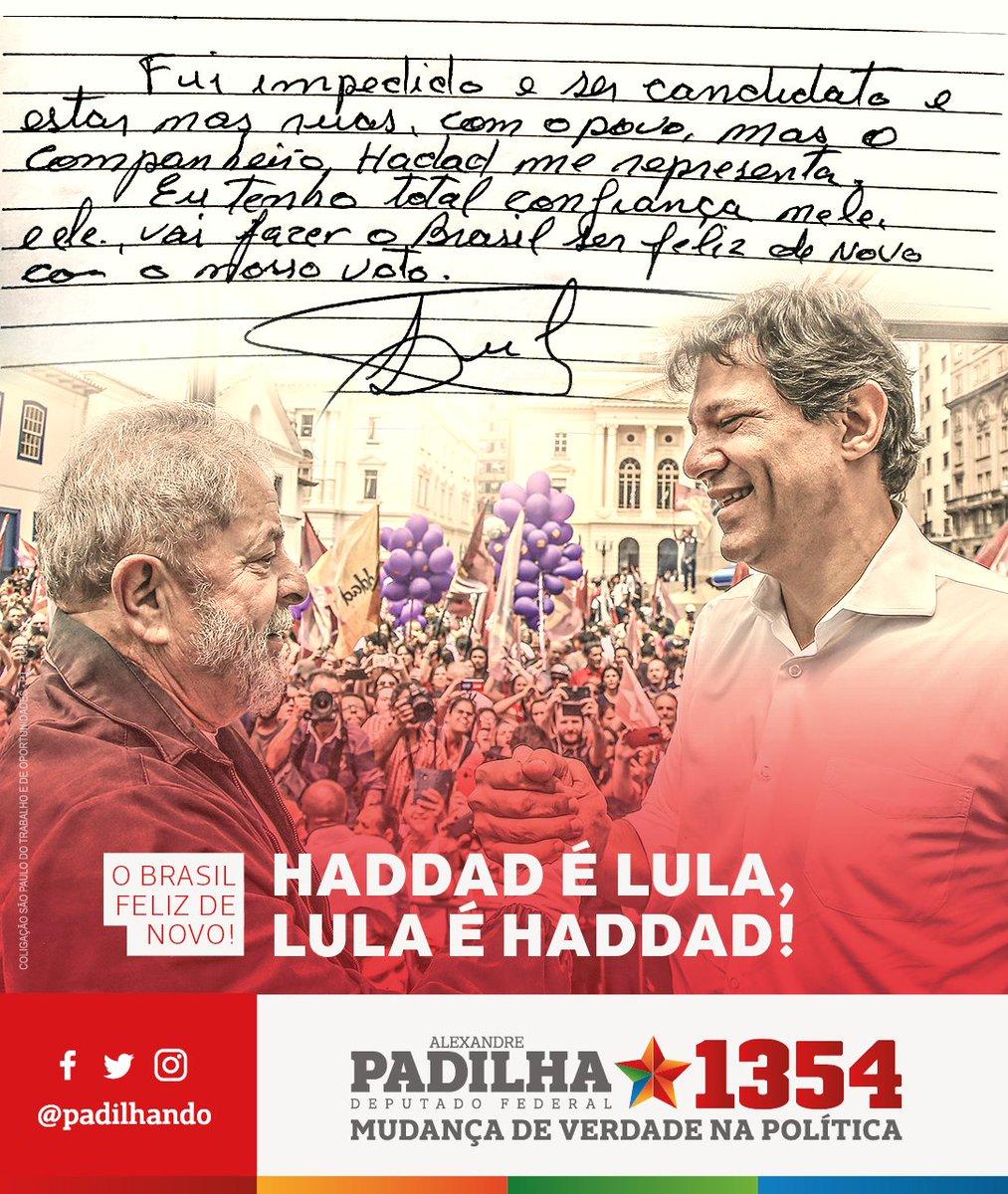 Atenção! O Lula tem um importante recado a dar para toda a nação! A esperança vai vencer o ódio! O povo não aceita perder direitos conquistados com muita luta! É 13! #Padilha1354 #MudançaDeVerdade #HaddadÉLula