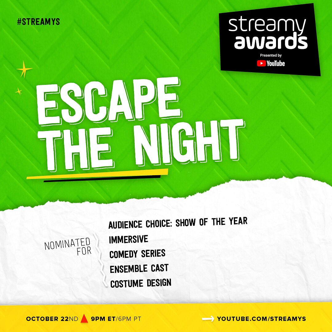 WOW! My show @EscapeTheNight is nominated for FIVE @streamys! 🎡🎟🎠 It has been such an honor to create this show & I am so thankful to the three seasons of incredible cast & crew that has made this show the sensation it is. Grateful for the love and all of you guys. ❤️