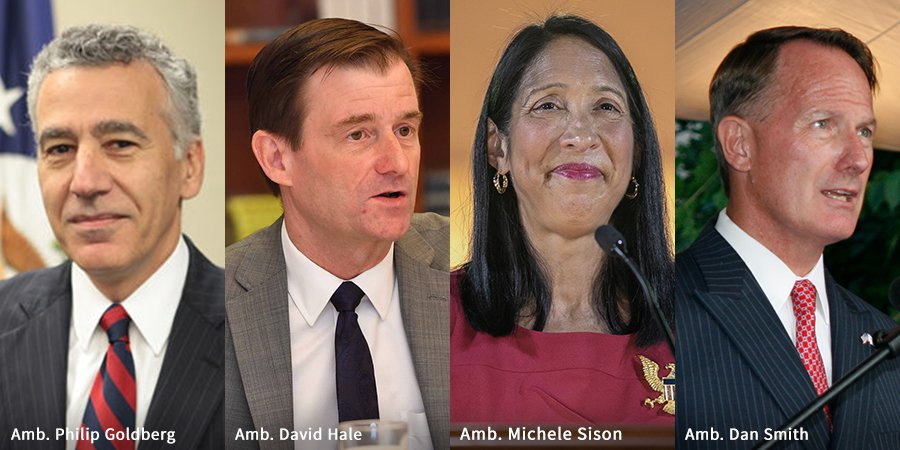 Today marks a proud moment for the @StateDept. Four of our finest diplomats have been conferred by @POTUS as Career Ambassadors—the highest rank in the U.S. Foreign Service. Congratulations, Philip Goldberg, David Hale, Michele Sison & Dan Smith on this high honor. Much deserved!