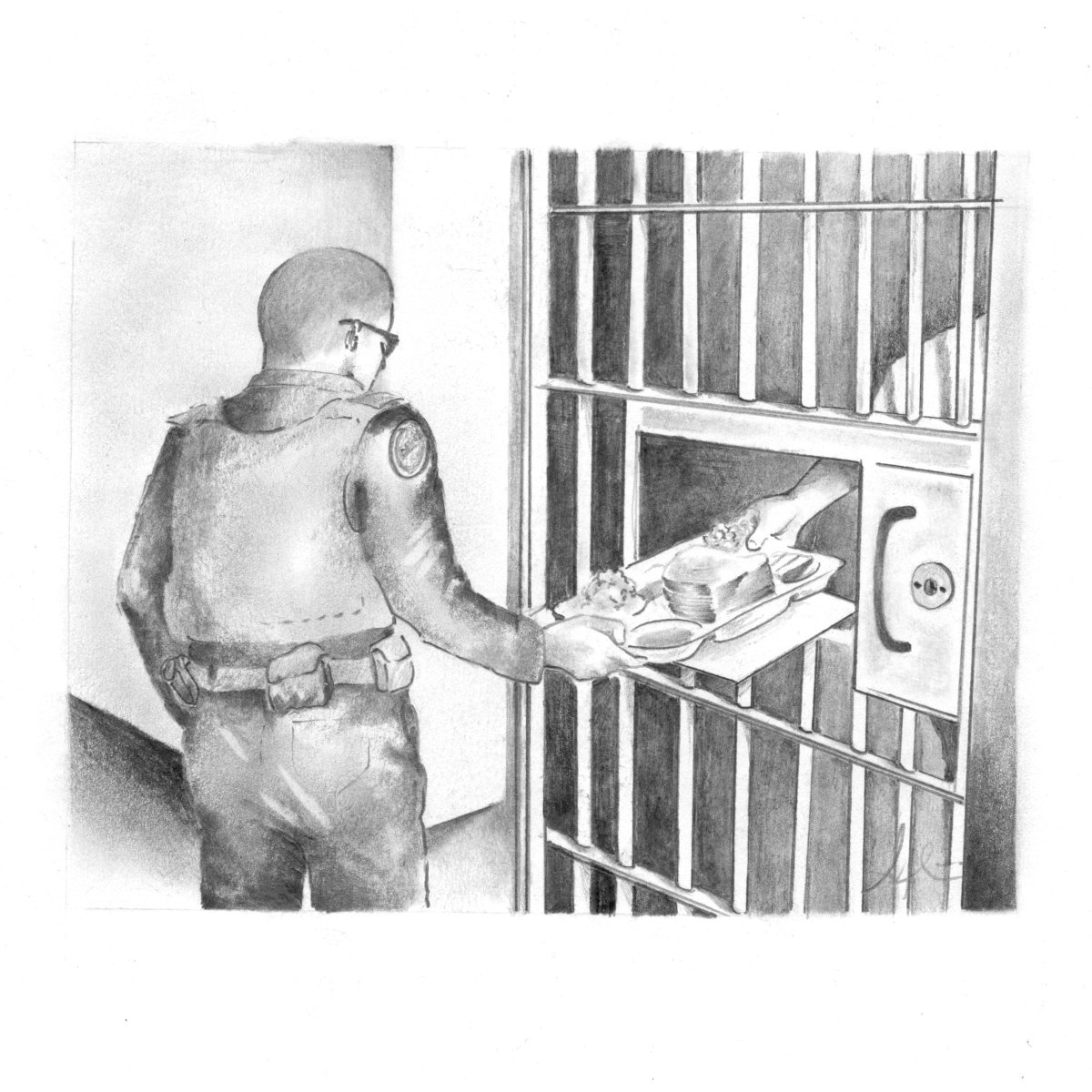 A sketch of a prison guard passing a tray of food through a locked cell door 7d8644ddf1