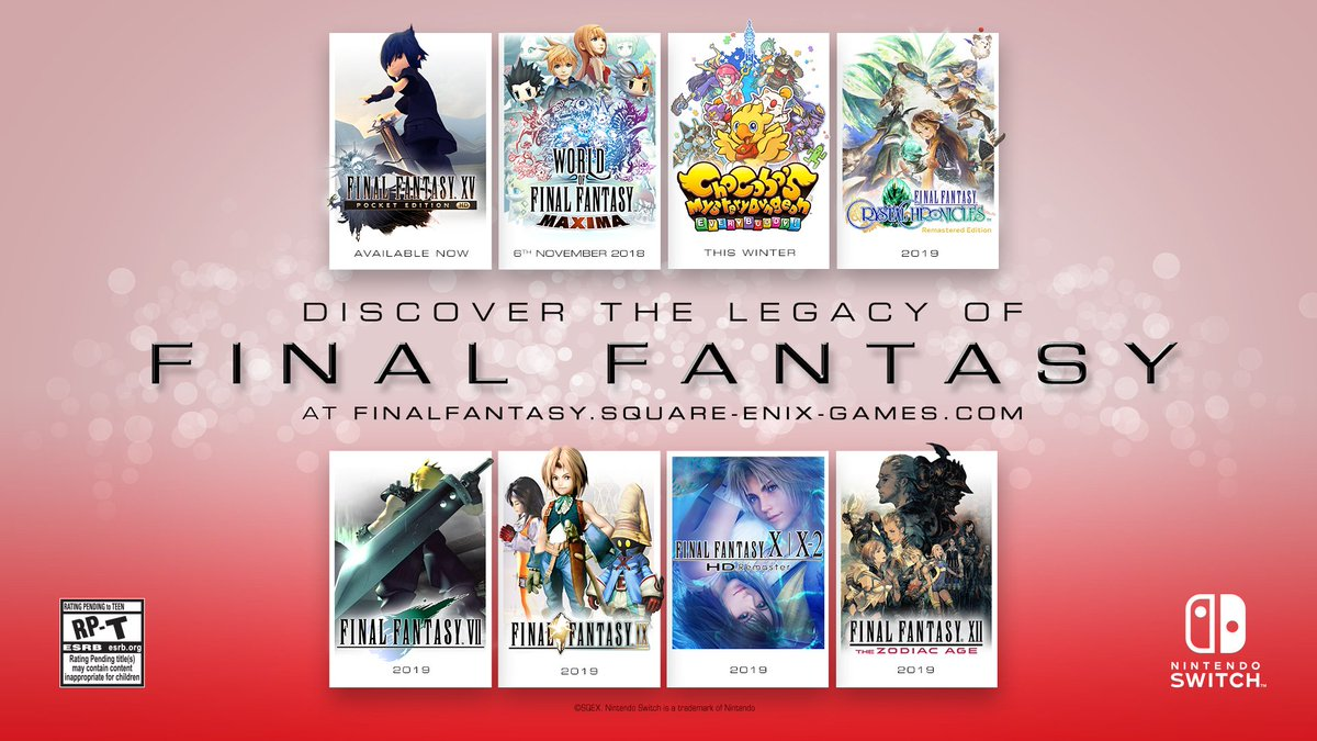 A whole host of legendary FINAL FANTASY titles are being released on #NintendoSwitch over the coming months and into 2019!
