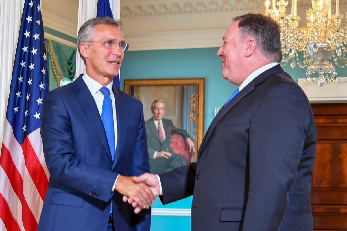 My pleasure to again welcome NATO Secretary General @jensstoltenberg to @StateDept. @NATO is an indispensable pillar of American national security and we will continue to work together to strengthen this important alliance.