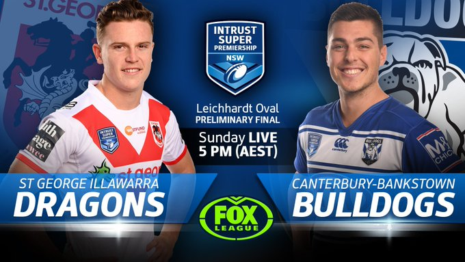 Tune into Fox League at 5:00pm to watch our #IntrustSuperPremiership prelim final against the Dragons! #proudtobeabulldog Photo
