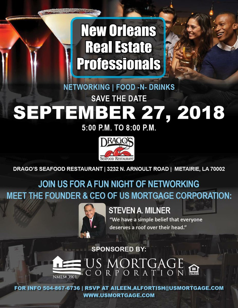 Looking forward to meeting our NOLA branch and their referral partners at this event, Sep 27th in the Big Easy, sponsored by #USMortgage.   #realtorpartners #morewithsless #usculture #reversemortgage #hecmforpurchase #neworleans #networking
