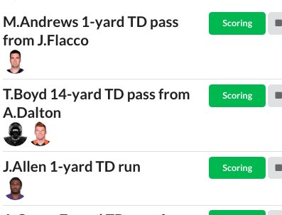 Want to track all the big plays? Available on your desktop and mobile. All the #fantasyfootball plays, updated live! Videos included...enjoy!  http://www.reportsdfs.com/nfl/fantasy/bigplays …  #nfl #ThursdayNightFootball #BengalsVsRavens 🏈