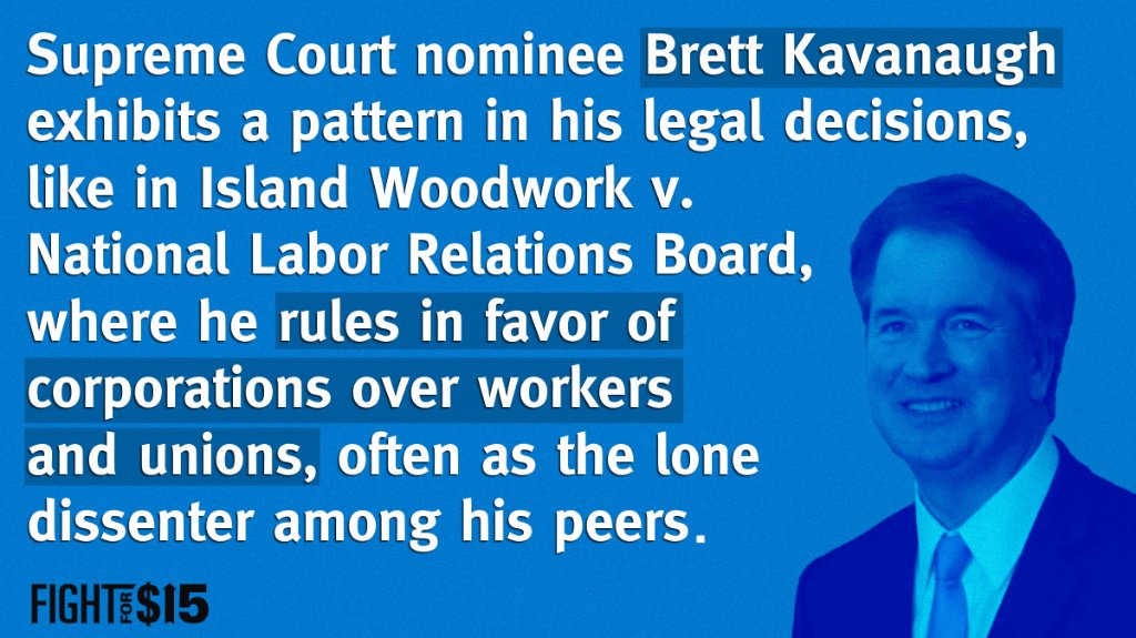 Kavanaugh, like Gorsuch before him, is a union-busting: https://t.co/3L8Ao2jyPm #FightFor15 #StopKavanaugh