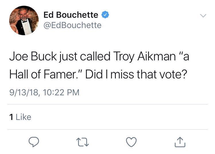 A guy who votes on who makes the NFL Hall of Fame doesn't know that Troy Aikman is a Hall of Famer  (H/T @burpystevens) #BALvsCIN <br>http://pic.twitter.com/042AxBVXBH
