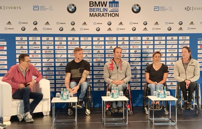 Press conference today for the @berlinmarathon race on Sunday. So excited for racing #berlin #marathontraining for the first time. I know it's going to be fast, and challenging for me because the course is so fast with no climbs! @WMMajors Photo