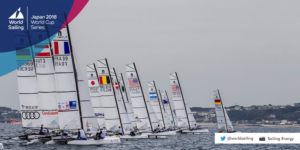 Three US Sailing Team 🇺🇸 entries have qualified for Saturday's Medal Races: Stephanie Roble/Maggie Shea, 49erFX, 8️⃣th place; Chris Rast/Trevor Burd, 49er, 🔟th place; Bora Gulari/Helena Scutt, Nacra 17, 🔟th place. #WCSEnoshima