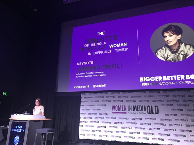 """Last year I fell in love with this little conference"" #wimconf18 Not as much as all of our delegates fell in love with you @LaTrioli And this is one powerful, honest keynote 🙌💪❤️ Photo"
