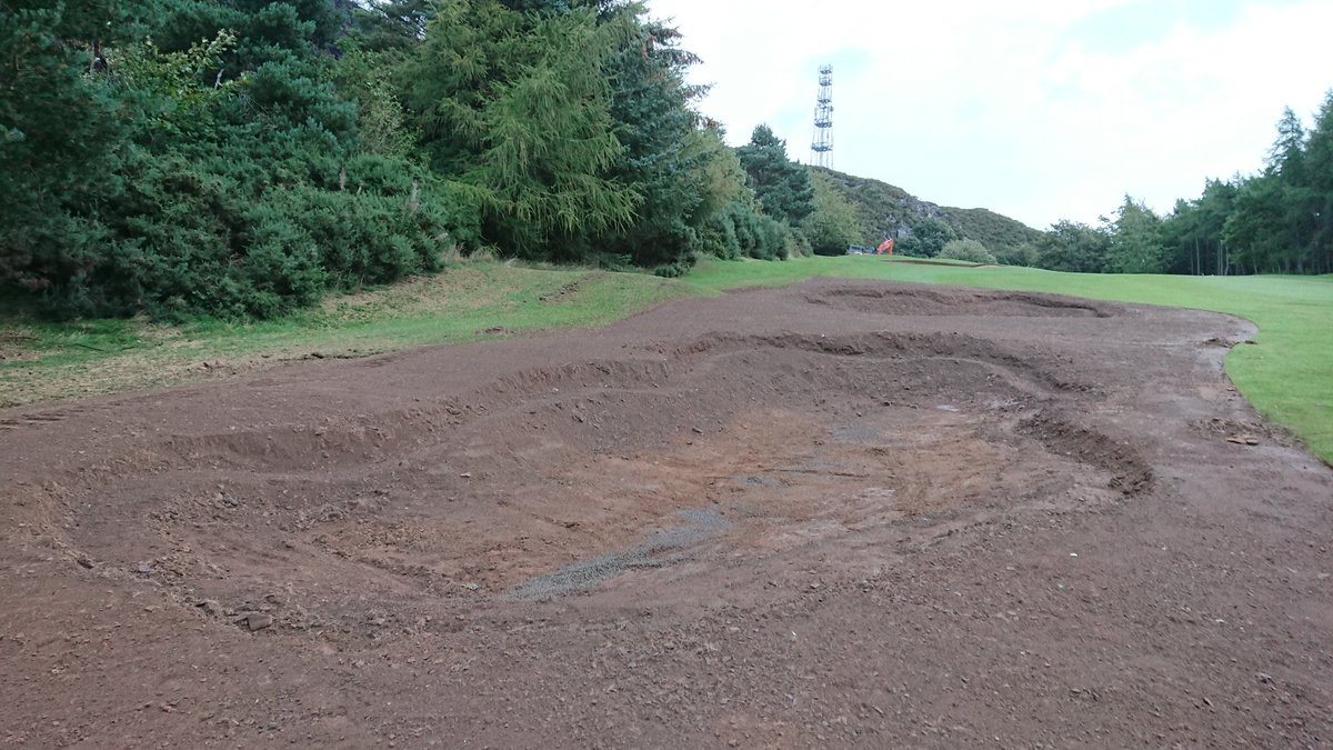 test Twitter Media - Fairway bunkers at 1st are starting to take shape. The one 40 yards short of the green is next to go.  Temporary Green in place at 1st. GUR on affected areas. https://t.co/4ZD3P44Pb7