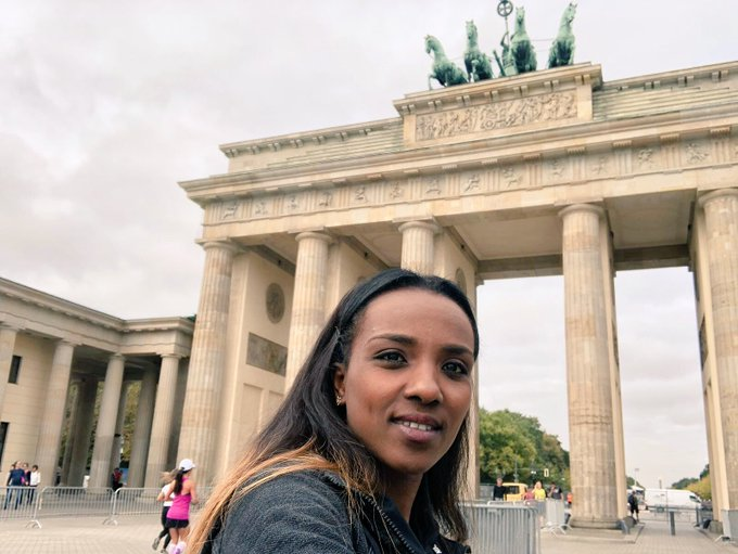 Early morning photograph at the Brandenburg Gate - looking forward to running through on Sunday morning. What a special place to finish @berlinmarathon / #justdoit Photo