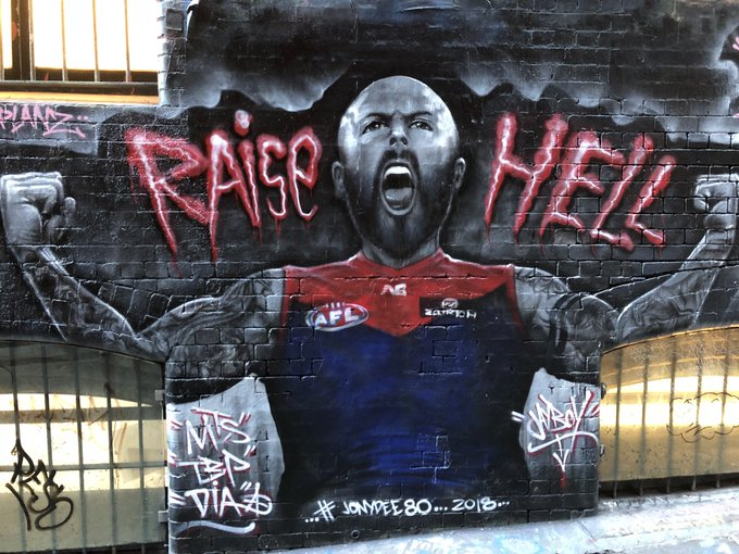 Checking in on the messiah before tonight clash. Go Dees! ♥️💙 #RaiseHell @melbournefc #AFLHawksDees @nathan2jones Photo
