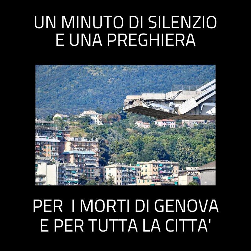 A un mese dal crollo del #ponte #Morandi, oggi #Genova si ferma per rendere omaggio alle 43 vittime. Alle 11.36, l'ora della tragedia, ci sarà un minuto di silenzio. Alle 19 Messa in suffragio delle vittime nella cattedrale di San Lorenzo #preghiamoperGenova  - Ukustom