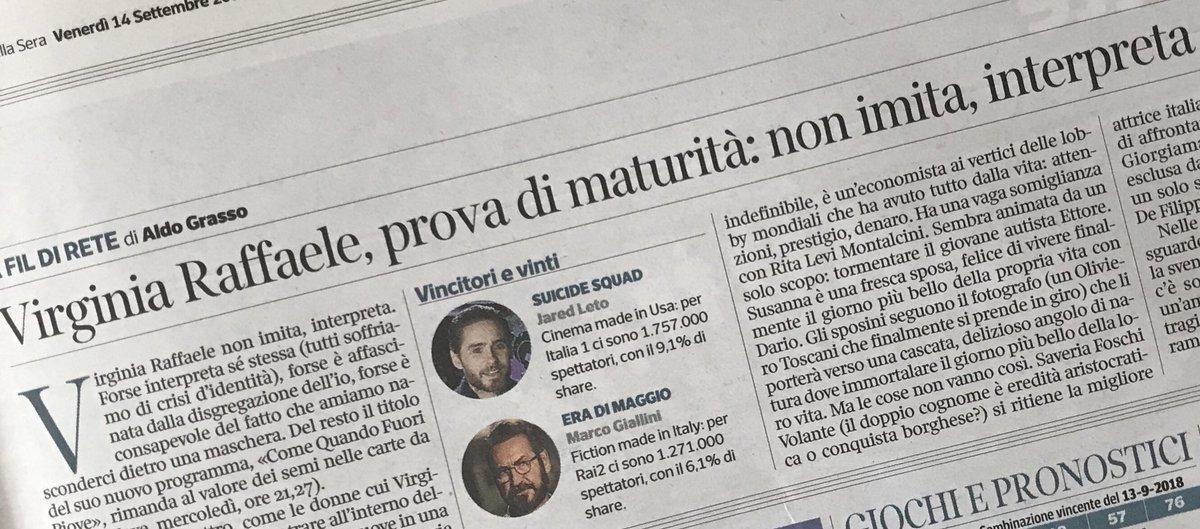 """Sul @Corriere #AldoGrasso """"@VirgiRaffaele, prova di maturità: non imita, interpreta"""" #Cqfp #ComeQuandoFuoriPiove @nove  - Ukustom"""